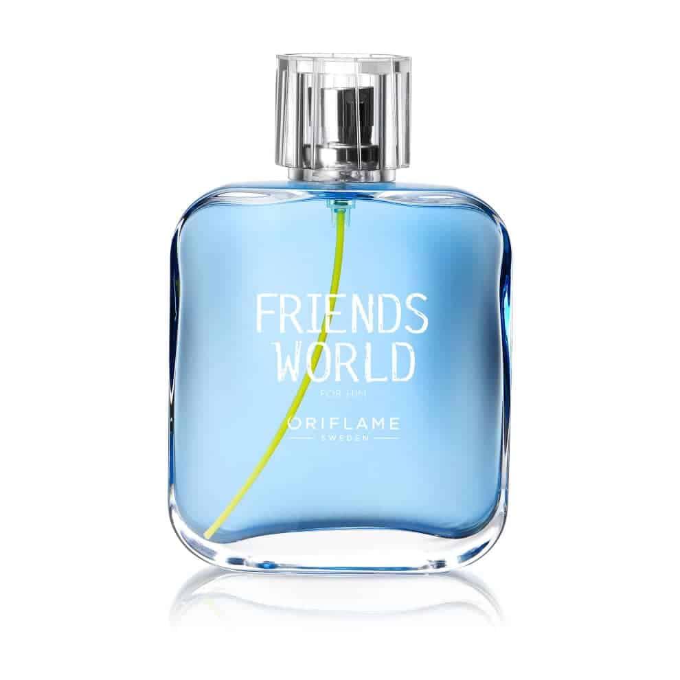 1e89ddab 119b 4cc8 927a 2ea4dc40d9f4 - ادو تویلت مردانه ی اوریفلیم مدل Friends World For Him حجم 75 میلی لیتر